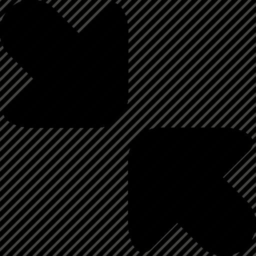 arrows, exit fullscreen, minimize, reduce, rescale, resize, simplify icon