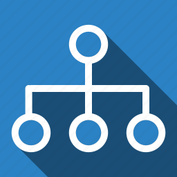 long shadow, network, sitemap, structure, wireframe icon