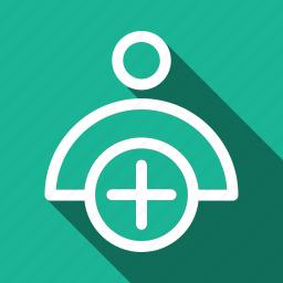 add, long shadow, new, user icon