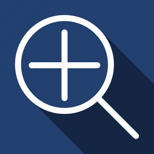 long shadow, magnify, more, plus, view, zoom icon