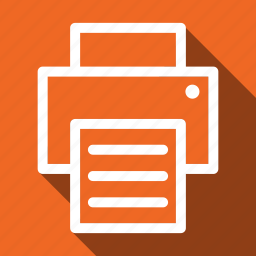 copier, long shadow, print, printer icon