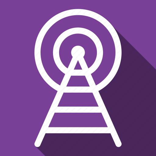 broadcast, long shadow, radio, signal icon