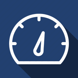 gauge, long shadow, measure, performance, seo, speed icon