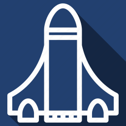 long shadow, rocket, startup icon