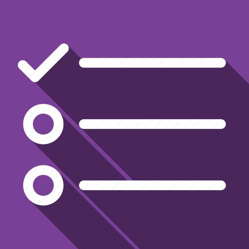 list, long shadow, survey, tasks icon