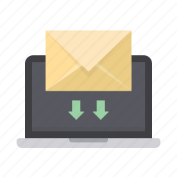 arrows, email, envelope, inbox, laptop, mail, screen icon