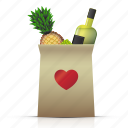 dinner, drinks, food, heart, market, shop, shopbag icon