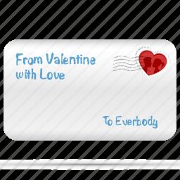 envelope, heart, letter, love, message, postcard, romantic icon