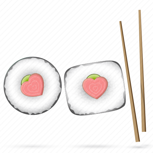 food, heart, japanese, love, restaurant, sticks, sushi icon