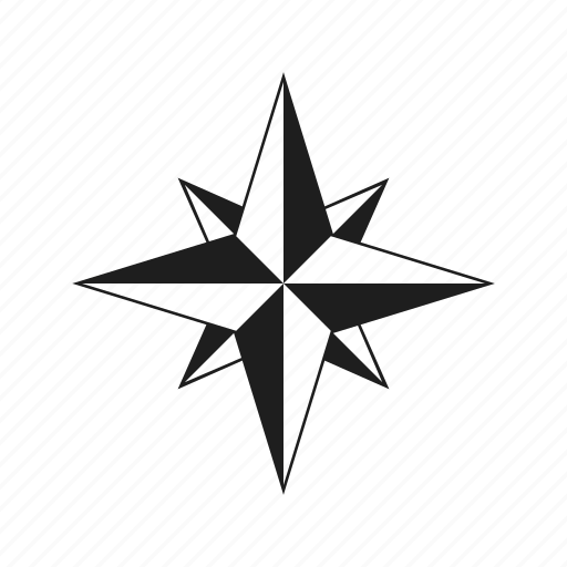 compass, sea, sign, star, wind rose icon