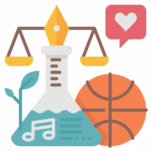 art, law, music, school, science, sport, subject icon