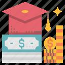 budget, debt, education, fee, loan, student, study icon