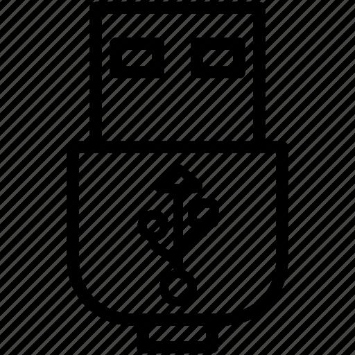 data, device, flash, plug, storage, usb icon