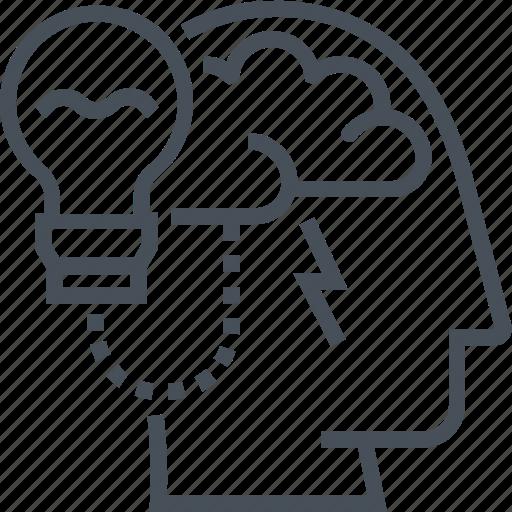 brain, creative, head, idea, lamp, solution, work icon