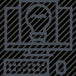 coding, comuter, creative, idea, lamp, programming, writing icon
