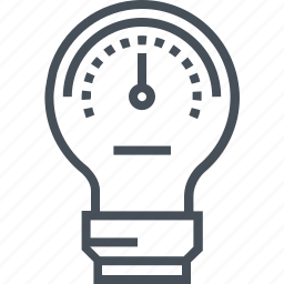 creativity, fuel, idea, lamp, meter, performance, speed meter icon