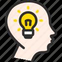 bulb, dream, head, idea, light, mind icon