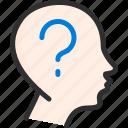 dream, faq, head, mark, mind, question icon