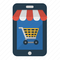 mobile shopping, online shop, shop, store icon
