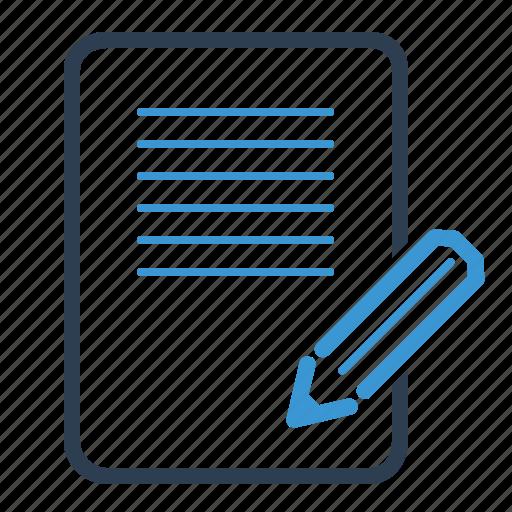 blogging, compose, file, page, pencil icon