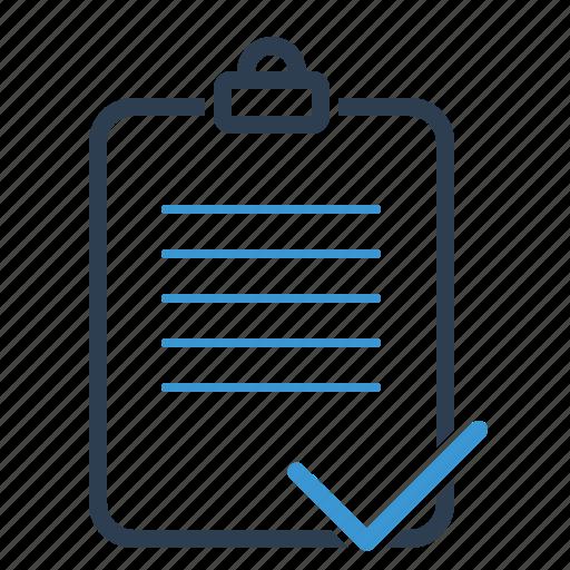 checkmark, clipboard, complete, done, list icon