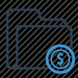 dollar, finance, folder, money, sales report icon