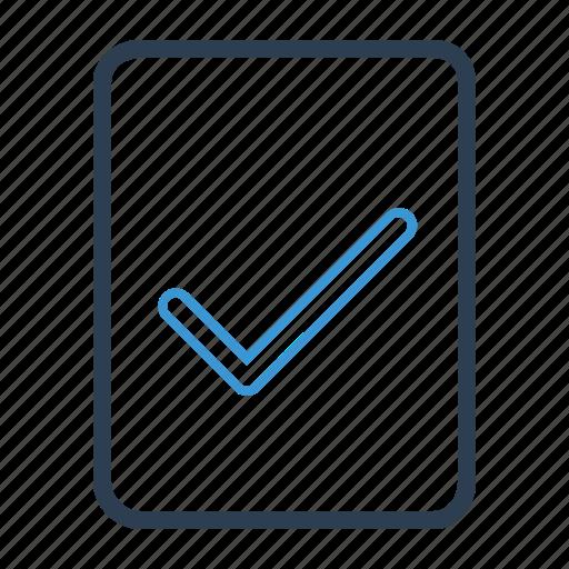 checkmark, complete, document, done icon