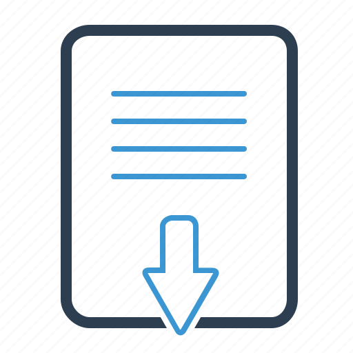 arrow, document, down, download, file, page, text icon