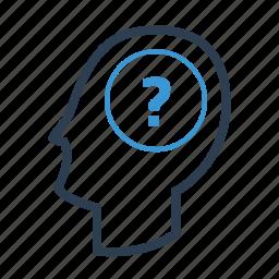 confusion, doubt, frustration, head, question, survey, trouble icon