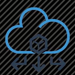 arrows, big data, cloud, data, database, db, storage icon