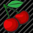 cherry, fruit, icon, illustration, vector icon
