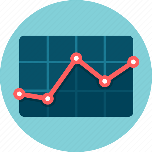chart, performance, red line, results, statistics icon