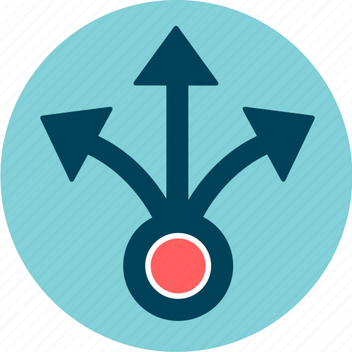 allocation, arrows, central, distribution, parcel, share, spread icon