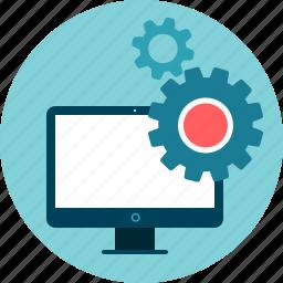 desktop, development, gears, operation, software, system, web development icon