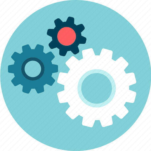 circles, development, engine, gears, operation, system icon
