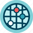 address, connection, gps, internet, location, nodes, planet, position, web icon