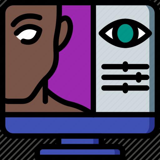 enhancement, eye, image, image enhancement, image processing, red, slider icon