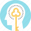 head, human, invention, key, mind, solution, thinking icon