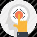 finger, hand, head, human, idea, mind, thinking icon