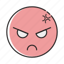 angry, emoji, emotag, emoticon, emotion, expression, face icon