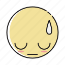 emoticon, emoticons, expression, face, feeling, sad, shame icon