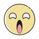 emoji, emoticon, emotion, expression, face, shocked, surprised icon