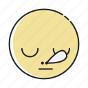 dozy, emoji, emoticon, emotion, expression, face, feeling icon