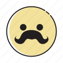 avatar, emoticon, emotion, expression, face, man, mustache icon