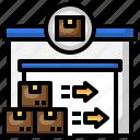 import, parcel, door, box, right, arrow, warehouse