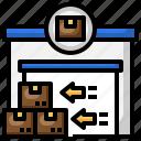 export, left, arrow, parcel, door, box, warehouse