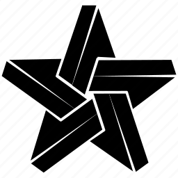 escher, impossible, object, penrose, shape, solid, star icon