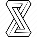 solid, impossible, shape, object, penrose, escher, infinity icon