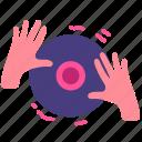 dance, dj, edm, hand, nightclub, party, scratch icon