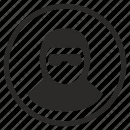 avatar, body, face, incognito, round, terrorist icon